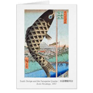 HIroshige Kite Suido Bridge Card