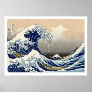 Hiroshige - la gran onda de Kanagawa Póster