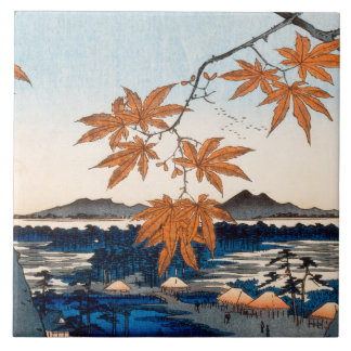 Hiroshige Maple Trees at Mama, Tekona Shrine Ceramic Tile