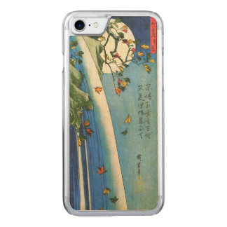 Hiroshige Moon Over A Waterfall Japanese Fine Art Carved iPhone 8/7 Case