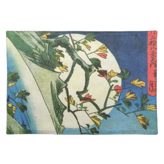Hiroshige Moon Over A Waterfall Japanese Fine Art Cloth Placemat