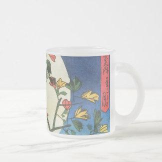 Hiroshige Moon Over A Waterfall Japanese Fine Art Frosted Glass Coffee Mug
