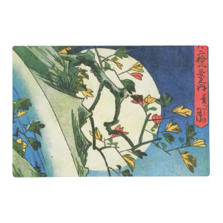 Hiroshige Moon Over A Waterfall Japanese Fine Art Placemat