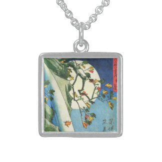 Hiroshige Moon Over A Waterfall Japanese Fine Art Square Pendant Necklace