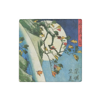 Hiroshige Moon Over A Waterfall Japanese Fine Art Stone Magnet