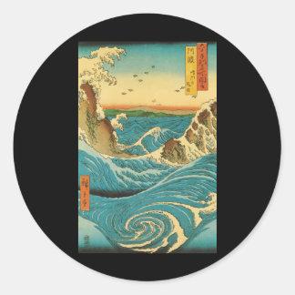 Hiroshige Navaro Rapids Round Sticker