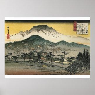 Hiroshige - opinión de la tarde de un templo en póster