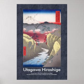 Hiroshige Scroll Design Inume Pass 富士三十六景 甲斐犬目峠 Poster