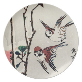 Hiroshige Sparrows and Camellias in the Snow Plates