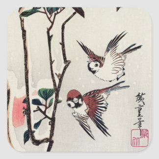 Hiroshige Sparrows and Camellias in the Snow Square Sticker