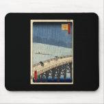 Hiroshige Sudden shower over Shin-Ōhashi bridge Mousepad