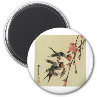 Hiroshige Swallows and Peach Blossoms 2 Inch Round Magnet