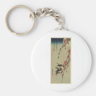 Hiroshige Swallows and Peach Blossoms Basic Round Button Keychain