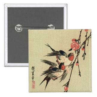 Hiroshige Swallows and Peach Blossoms Pinback Buttons