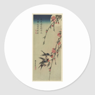 Hiroshige Swallows and Peach Blossoms Classic Round Sticker