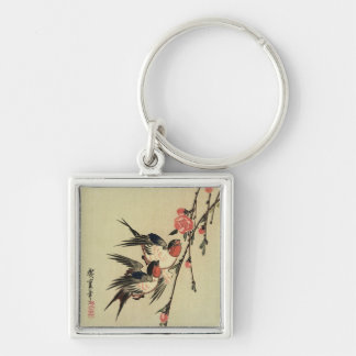 Hiroshige Swallows and Peach Blossoms Silver-Colored Square Keychain