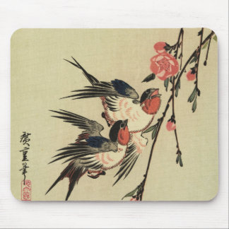 Hiroshige Swallows and Peach Blossoms Mouse Pad