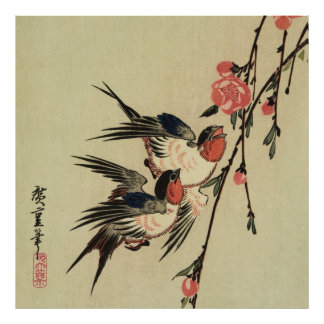 Hiroshige Swallows and Peach Blossoms Poster