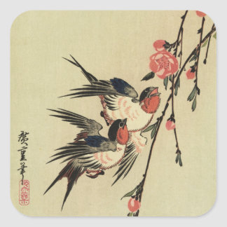 Hiroshige Swallows and Peach Blossoms Square Stickers