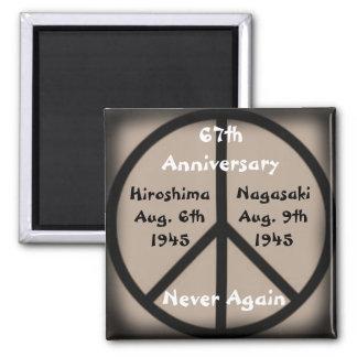 Hiroshima-Nagasaki Peace Sign/Anniversary Date 2 Inch Square Magnet