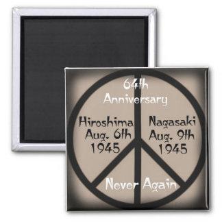 Hiroshima-Nagasaki Peace Sign 2 Inch Square Magnet