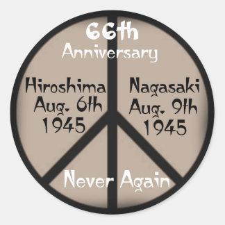 Hiroshima-Nagasaki Peace Sign+Never Again Classic Round Sticker