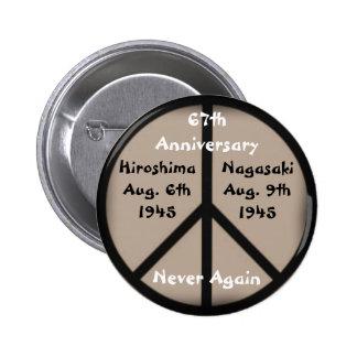 Hiroshima-Nagasaki Peace Sign Pinback Button