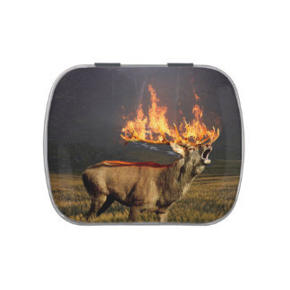 Hirsch with Horns on Fire Fantasy Art Candy Tin