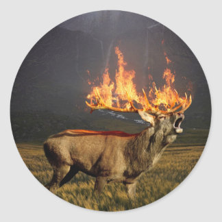 Hirsch with Horns on Fire Fantasy Art Classic Round Sticker