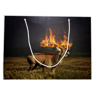 Hirsch with Horns on Fire Fantasy Art Large Gift Bag