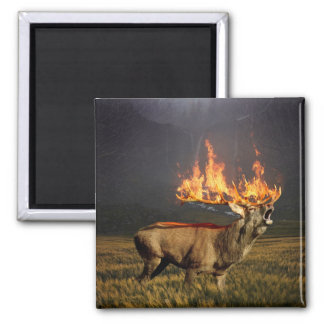 Hirsch with Horns on Fire Fantasy Art Magnet