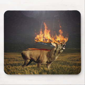 Hirsch with Horns on Fire Fantasy Art Mouse Pad