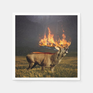Hirsch with Horns on Fire Fantasy Art Paper Napkin