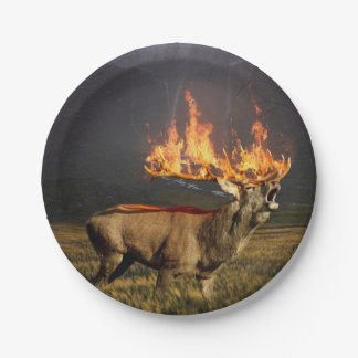 Hirsch with Horns on Fire Fantasy Art Paper Plate