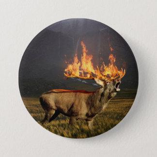 Hirsch with Horns on Fire Fantasy Art Pinback Button