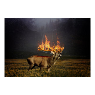 Hirsch with Horns on Fire Fantasy Art Poster