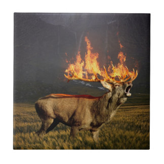 Hirsch with Horns on Fire Fantasy Art Tile