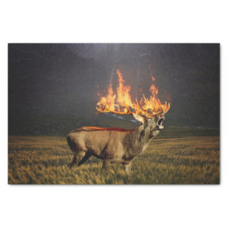 Hirsch with Horns on Fire Fantasy Art Tissue Paper