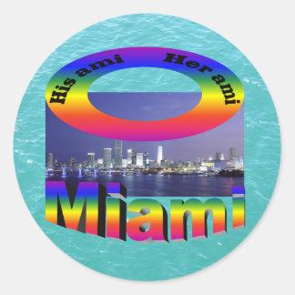 His Ami, Her Ami - Miami Classic Round Sticker