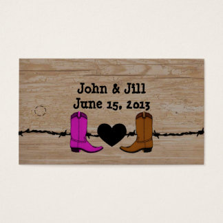 His And Her Cowboy Boots Wedding Favor Hang Tag