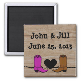 His And Her Cowboy Boots Wedding Favor Magnet