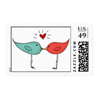 His and Her Love Birds Wedding Kiss Stamp