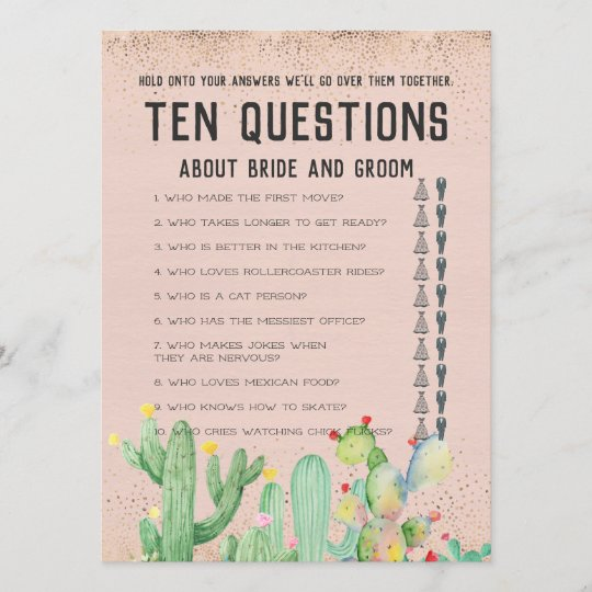 His And Her Ten Questions Wedding Game
