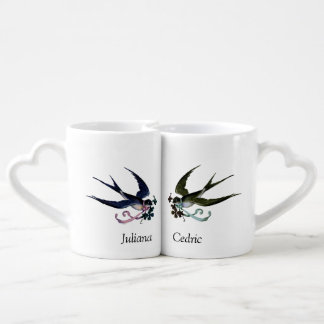 His and Her Vintage Lovebirds Personalized Couple Coffee Mug Set