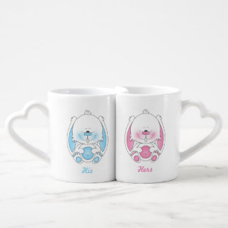 His and Hers Baby Bunny Cartoon Coffee Mug Set