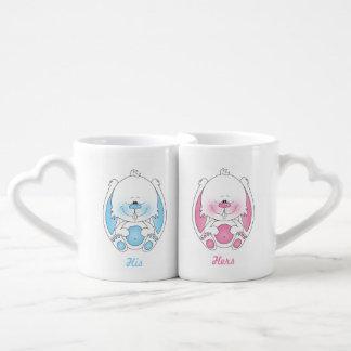 His and Hers Baby Bunny Cartoon Coffee Mug Set