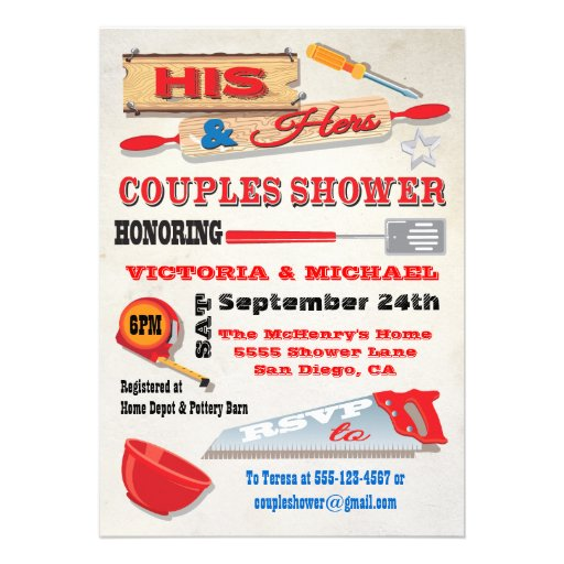 His And Hers Couples Tools Kitchen Shower Invites 5 Quot X 7