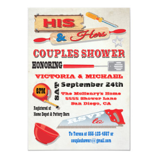 "His and Hers Couples Tools Kitchen Shower Invites 5"" X 7"" Invitation Card"