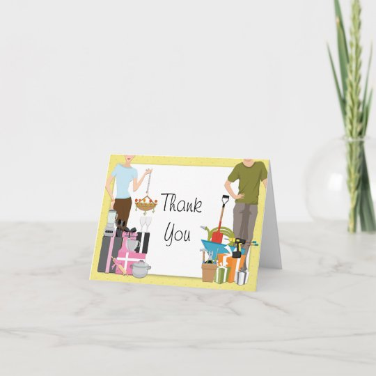 His Hers Wedding Invitations Templates: His And Hers Couples Wedding Shower Thank You Card