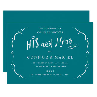 His and Hers Couples Wedding Shower Turquoise Card
